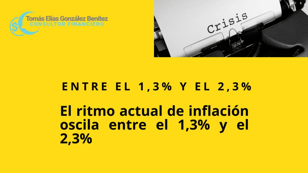 il ritmo actual de inflacion oscila entre 1,3% y el 2,3 %